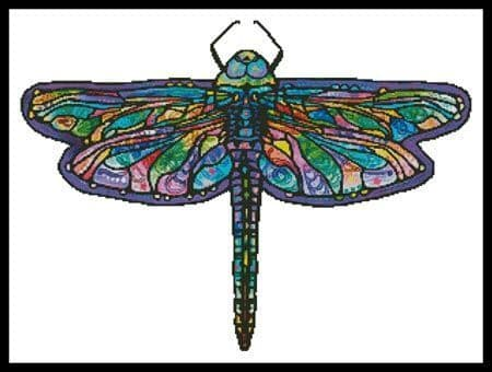 Abstract Dragonfly (No Background) by Artecy printed cross stitch chart